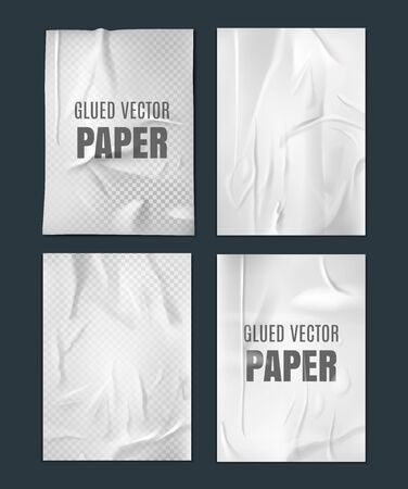 Glued paper template. Wrinkled crumpled poster template set. Vector Realistic wet wrinkled posters mockup