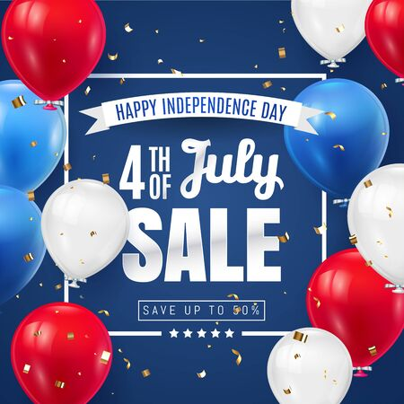 Fourth of July Independence Day Sale Banner Design with Balloon american flag color. USA National Holiday Vector Illustration with Special Offer Typography Elements for Coupon, Voucher, Banner, Flyer. Vettoriali