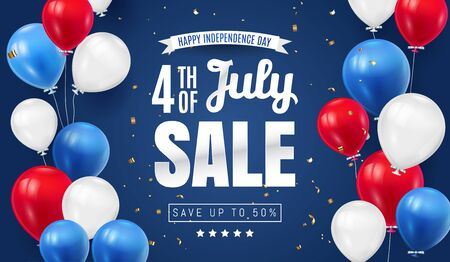 Fourth of July. Independence Day Sale Banner Design with Balloon american flag color. USA National Holiday Vector Illustration with Special Offer Typography Elements for Coupon, Voucher, Banner, Flyer