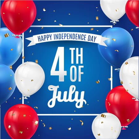 4th of July poster template with American color balloons flag. July Fourth holiday greeting card template . USA Independence Day banner for sale, discount, advertisement, web. Vector illustration.