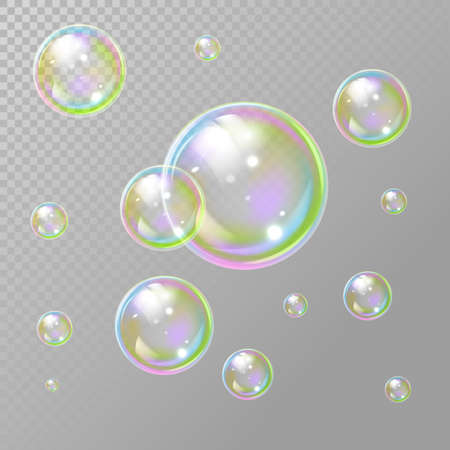Transparent realistic set of soap bubbles. Soap bubbles in transparent background. Rainbow colorfull reflection soap bubbles. Isolated vector illustration. EPS 10