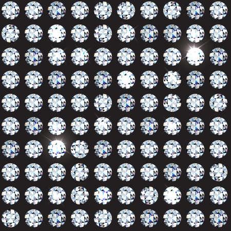 Beautiful rich seamless pattern of rhinestones and diamond with sparkles on dark background. VIP glamorous seamless. Vector illustration. EPS 10