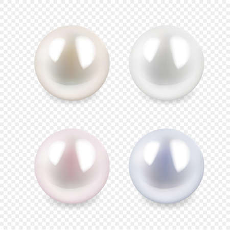 Set of Pearl isolated on transparent background. Spherical beautiful 3D realistic pearls of different color with shadow with transparent glares and highlights. Jewel gems. Vector Illustration