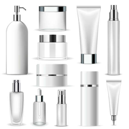Set vector blank templates of empty and clean white plastic containers with silver elements: bottles with spray, dispenser and dropper, cream jar, tube. Realistic 3d mock-up of cosmetic package Vettoriali