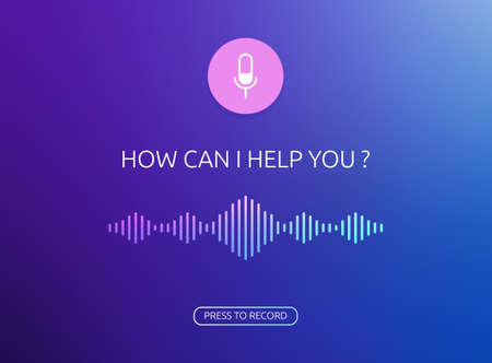 Voice assistant vector window template. Voice recognition soundwave illustration and button of recording voice. Microphone button with bright voice and sound imitation lines Illustration