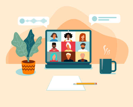 Illustrations flat design concept video conference. online meeting, colleagues talk to each other on the laptop screen. Conference video call, working from home. Vector illustration. Vettoriali