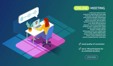 Flat isometric design concept of video online conference. meeting work form home. Woman sitting at the table in front of laptop and chatting online. Online Study or work banner. Vector