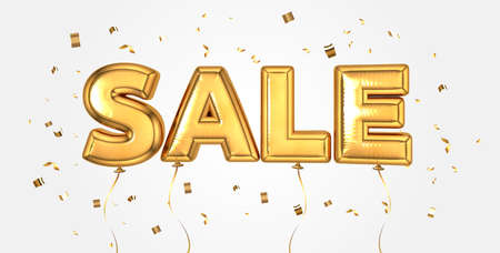 Elegant Gold sale celebration balloons background for store banner, advertising, shopping. Sale text letters with sparkling golden confetti, selling, web banner. Golden balloon special offer, price. Vettoriali