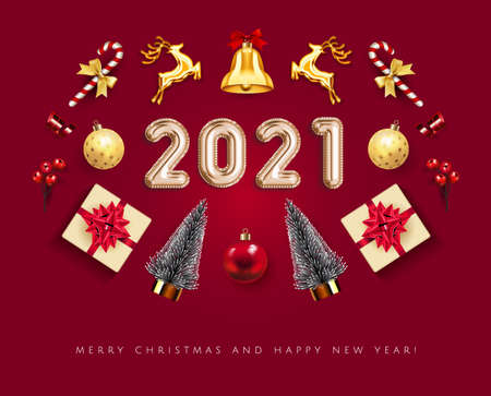 Set realistic Red Christmas objects isolated in white background Xmas card. Merry Christmas and Happy New Year 2021 ball Elements gift box, bell, gold deer, Christmas balls, holly berries and fir tree