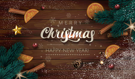 Dark Wooden Christmas illustration Background with Realistic Fir Tree Branches, Gift boxes, Gold Stars, oranges and spices cinnamon stick. Lettering Merry Christmas and Happy New Year with snowflakes.