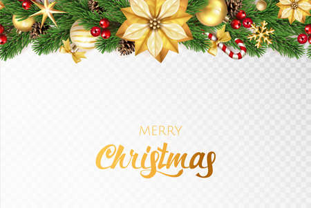 Green Merry Christmas fir tree branches, Christmas gold flower, candy cane, Christmas ball, red berries on a transparent background. Vector illustration.