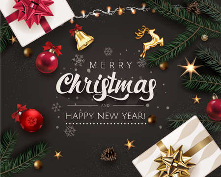 Christmas Celebration Rich Dark surface Background with Realistic Christmas Tree Branches, Fir Cones, Gift box, Gold Stars and Red Christmas Ball. Greeting Card , Banner or Card Design Template