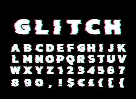 Vector Alphabet font design distorted glitch font. Trendy style lettering typeface. Green and red channels EPS 10