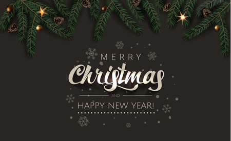 Christmas Celebration tree branches with fir-cones, gold stars and gold beads on Rich Dark background. Merry Christmas and Happy New Year Greeting card illustration.