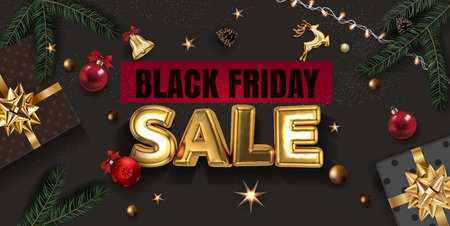 Black Friday Sale Gold Foil Celebration Rich Dark surface Background with Realistic Christmas Tree Branches, Gift box, Gold Stars and Red Christmas Ball. Greeting Card , Banner or Card Design Template