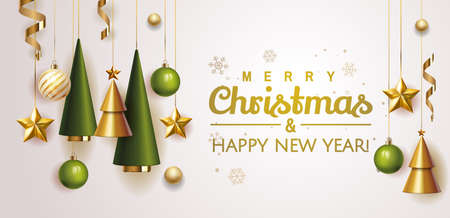 Merry Christmas and Happy New Year Holiday white banner illustration. Xmas design with realistic vector 3d objects, christmas tree, golden Christmas ball, snowflake, glitter gold confetti. Vector Stock Illustratie