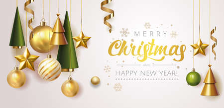 Merry Christmas and Happy New Year Holiday white banner illustration. Xmas design with realistic vector 3d objects, christmas tree, golden Christmas ball, snowflake, glitter gold confetti. Vector. Stock Illustratie