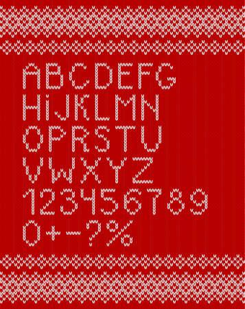 vector illustration of a white knitting alphabet on red background. Vector illustration