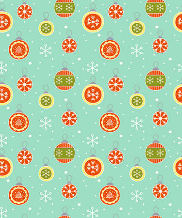 Winter celebration seamless background with decoration christmas ball and snowflakes. Vector illustration. Vector illustration