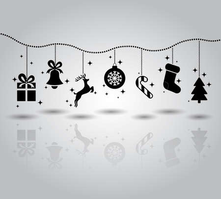 Christmas symbols flat icon garland. Gift and bell, deer. icon ball snowflake candy, socks spruce. Vector illustration