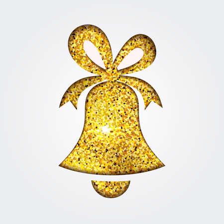 Beautiful decorative shiny gold glitter jingle bell for Merry Christmas celebration. Vector illustration