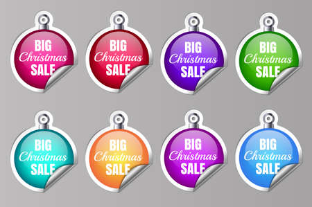 Big Sale Christmas Ball Sticker tags with Big Christmas Sale text on Colorful Christmas Ball Sticker tags - EPS10 Vector. Vector illustration