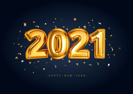 Happy New Year 2021 Banner with Golden Luxury Balloon Foil Text Gold Glowing Numbers isoalted on dark black background with confetti