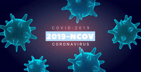 Coronavirus banner Dark blue background with bacteria, background Hologram of Corona Virus, SARS-CoV-2. 2019-nCoV concept with polygonal cell mesh. 3D COVID-2019 elements. Vector illustration