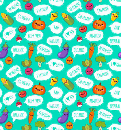 Cute funny vegetables with a speech bubble with a vegetarian label vector seamless pattern. Bright vegetables on white background. Can be used for textile, wallpaper, wrapping.