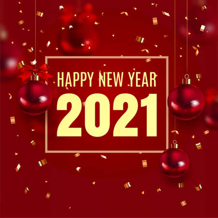 New Year 2021. Royal elegant red template with red Christmas ball and confetti with a sparkle. Concept for poster of greeting card. Rich, VIP, luxury Gold and soft color. Vector illustration. EPS Stock Illustratie