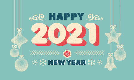 Number 2021 Christmas New Year lettering clip art with christmas ball Handwritten Vintage poster or greeting card. Vector Happy New Year typography. Winter design Grunge effects can be easily removed. Vector illustration Stock Illustratie