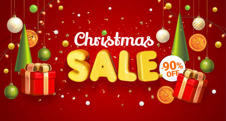 Christmas Sale banner red with composition made of hanging christmass ball and plastic green cartoon Christmas trees, glass ornaments, festive elements. Vector Illustration. Concept winter ads sale. Stock Illustratie