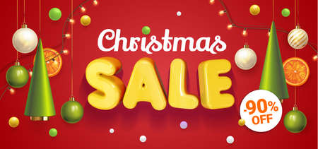 Christmas Sale banner red with composition made of hanging christmass ball and plastic green cartoon Christmas trees, glass ornaments, festive elements. Vector Illustration. Concept winter ads sale
