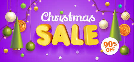 Christmas Sale banner with composition made of hanging christmass ball and plastic green cartoon Christmas trees, glass ornaments, festive elements. Vector Illustration. Concept for ads winter sale