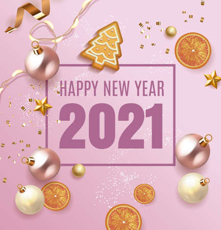 Merry Christmas and Happy New Year 2021 design with light garland, tree gingerbread, white and pink balls and glitter gold confetti with orange. Christmas poster, holiday banner top view background