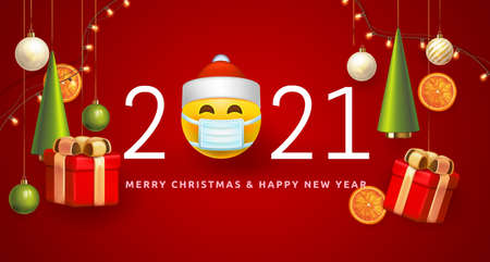 Merry Christmas and Happy New Year 2021 Poster concept with emoji in medical mask. Symbol 3D smiley face santa 2021 Covid-19 Pandemic New Year for Retail, Shopping or Christmas Promotion. Vector