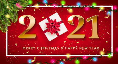 Merry Christmas and Happy New Year 2021 numbers logo Promotion Poster or banner with red gift box , fir tree, light garland Shopping Christmas Promotion red and gold style. Festive vector background