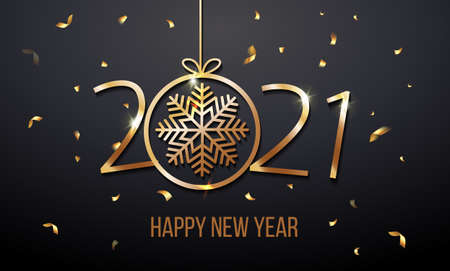 Greeting card web banner or poster with happy new year 2021 with snowflake gold glitter confetti and shine. Luxury golden and black color invitation. Vector illustration for web. EPS 10. Vector