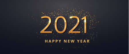 Happy New Year 2021 gold luxury greeting card design. Number sign with golden glitter dust on black background