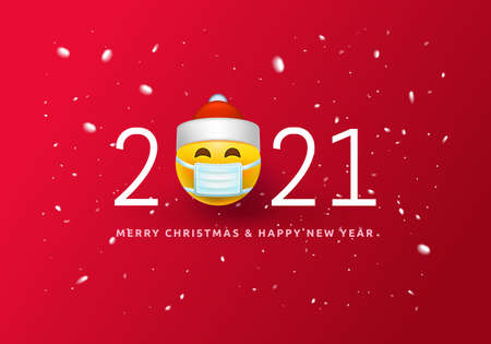 Merry Christmas and Happy New Year Poster or banner with Symbol smiling emoji santa in Medical Mask and numbers 2021 for Retail, Shopping or Christmas Promotion 3d Smiley COVID-19 Emoticon.