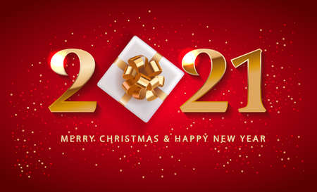 Merry Christmas and Happy New Year 2021 numbers logo Promotion Poster or banner with red gift box ,Shopping or Christmas Promotion in red and gold style. Festive vector background.