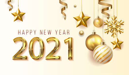2021 Merry Christmas and Happy New Year card with balls and serpentine. Golden metal number. Realistic 3d render sign. festive realistic decoration. Celebrate party. Web, banner, card, brochure, flyer Stock Illustratie