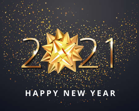 2021 Happy New Year vector background with golden gift bow, confetti, white numbers. Winter holiday greeting card design template. Christmas and New Year posters. Vector illustration Stock Illustratie