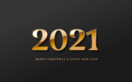 2021 Happy New Year Banner logo. Greeting design with golden number of year on a abstract black background. Design for greeting card, invitation, calendar, etc. Stock Illustratie