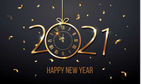 Happy New Year 2021 and Christmas card with golden text and clock. Vector. Vector illustration Stock Illustratie