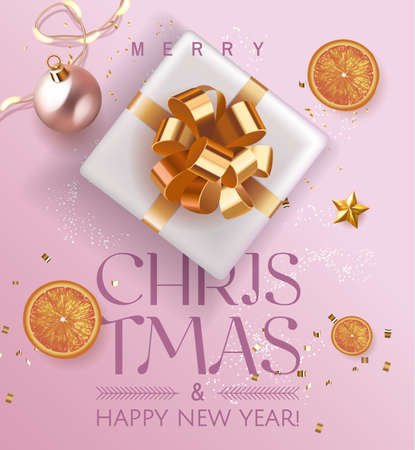Elegant Pink Luxury Holiday banner Merry Christmas and Happy New Year. Xmas design with realistic festive objects, realistic gift, 3d gift, oranges, glitter gold confetti. Festive Vertical poster. EPS