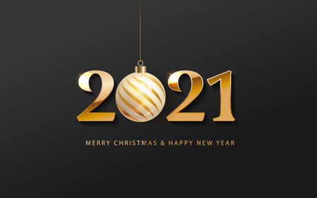 2021 Happy New Year Banner logo. Greeting design with golden number of year on a abstract black background with golden christmas ball. Design for greeting card, invitation, calendar, etc.