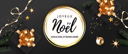 French lettering Joyeux Noel - Happy New Year and Merry Christmas. Christmas festive luxury black and gold background with gifts box and Xmas balls, stars, bell, light garland, gingerbread fir tree. Stock Illustratie