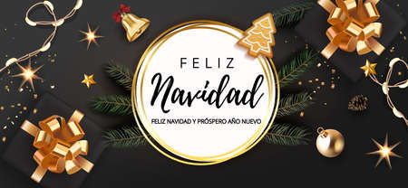 Spanish lettering Feliz Navidad - Happy New Year and Merry Christmas. Christmas festive luxury black and gold background with gifts box and christmas balls, stars, bell, light garland fir tree.