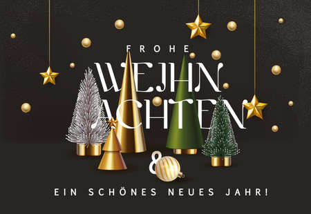 Merry Christmas and Happy New Year sale banner background with golden stars and christmas tree set. Greeting card for Xmas Holiday.Calligraphy.Vector illustration template